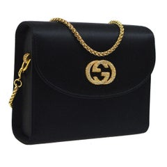 Gucci Black Satin Gold Charm GG Rhinestone 2 in 1 Clutch Shoulder Flap Bag W/Box
