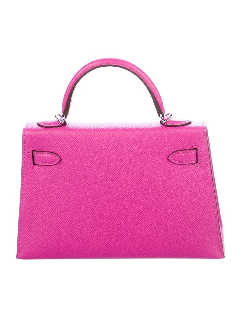 Pink Hermes NEW 20 Mini Kelly Seller II Top Handle Satchel Shoulder Flap Bag in Box For Sale