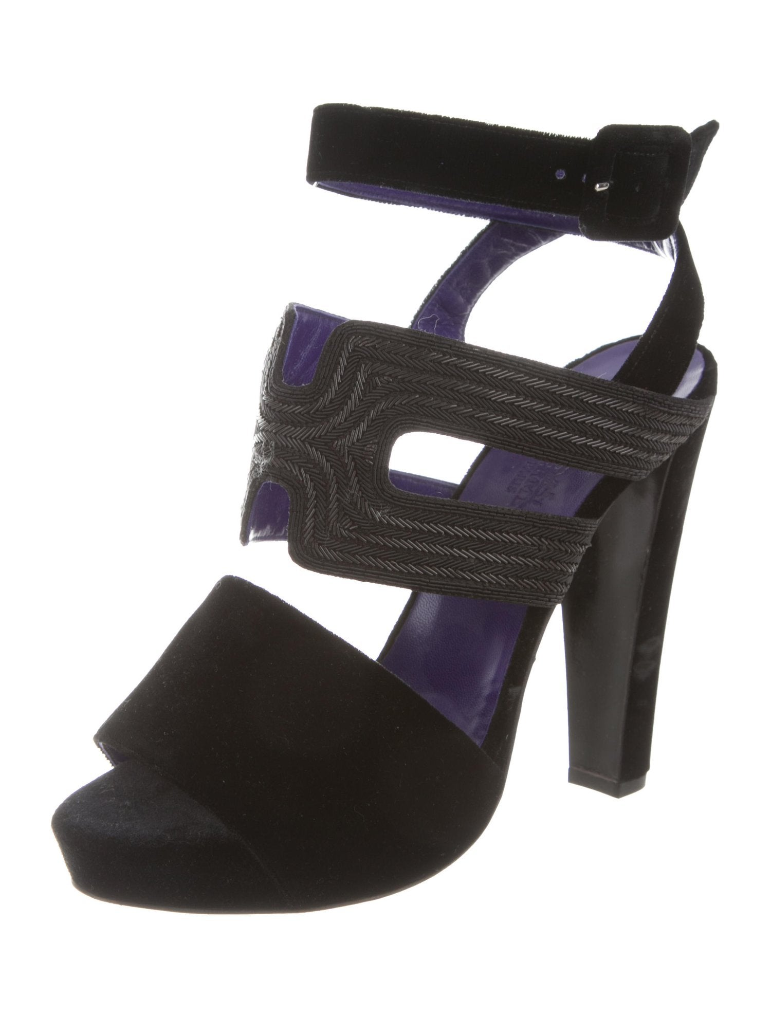 a76bf87f7140 HERMES NEW Black Purple Bead Strappy Evening Sandals Heels For Sale at  1stdibs