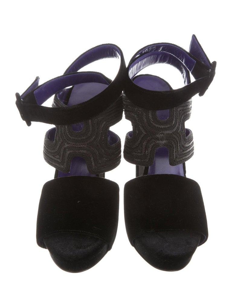 4efd5595d59b HERMES NEW Black Purple Bead Strappy Evening Sandals Heels Size IT 39  Velvet Bead Ankle strap