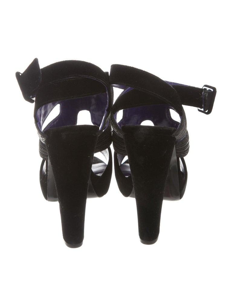 6232da8cfe07 Women s HERMES NEW Black Purple Bead Strappy Evening Sandals Heels For Sale