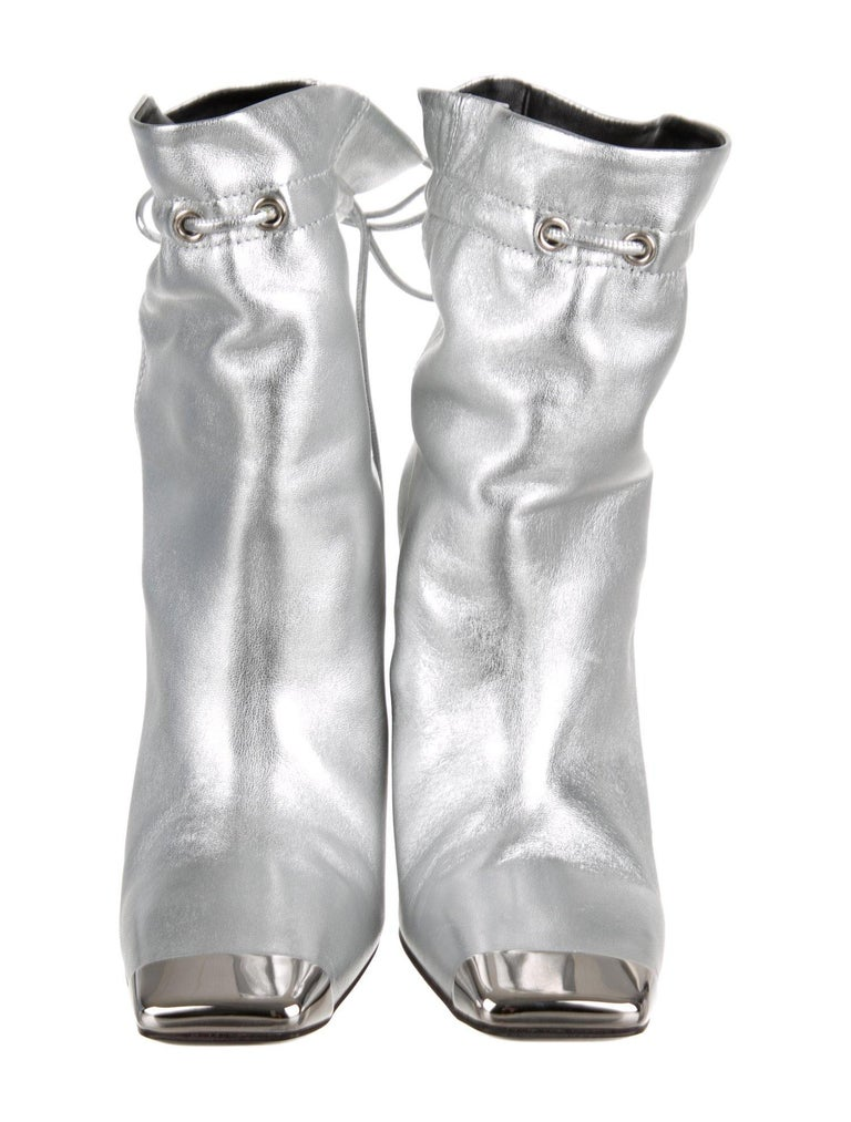 13a8ada2a43 Tom Ford NEW Silver Leather Metal Toe Drawstring Evening Ankle Boots Booties