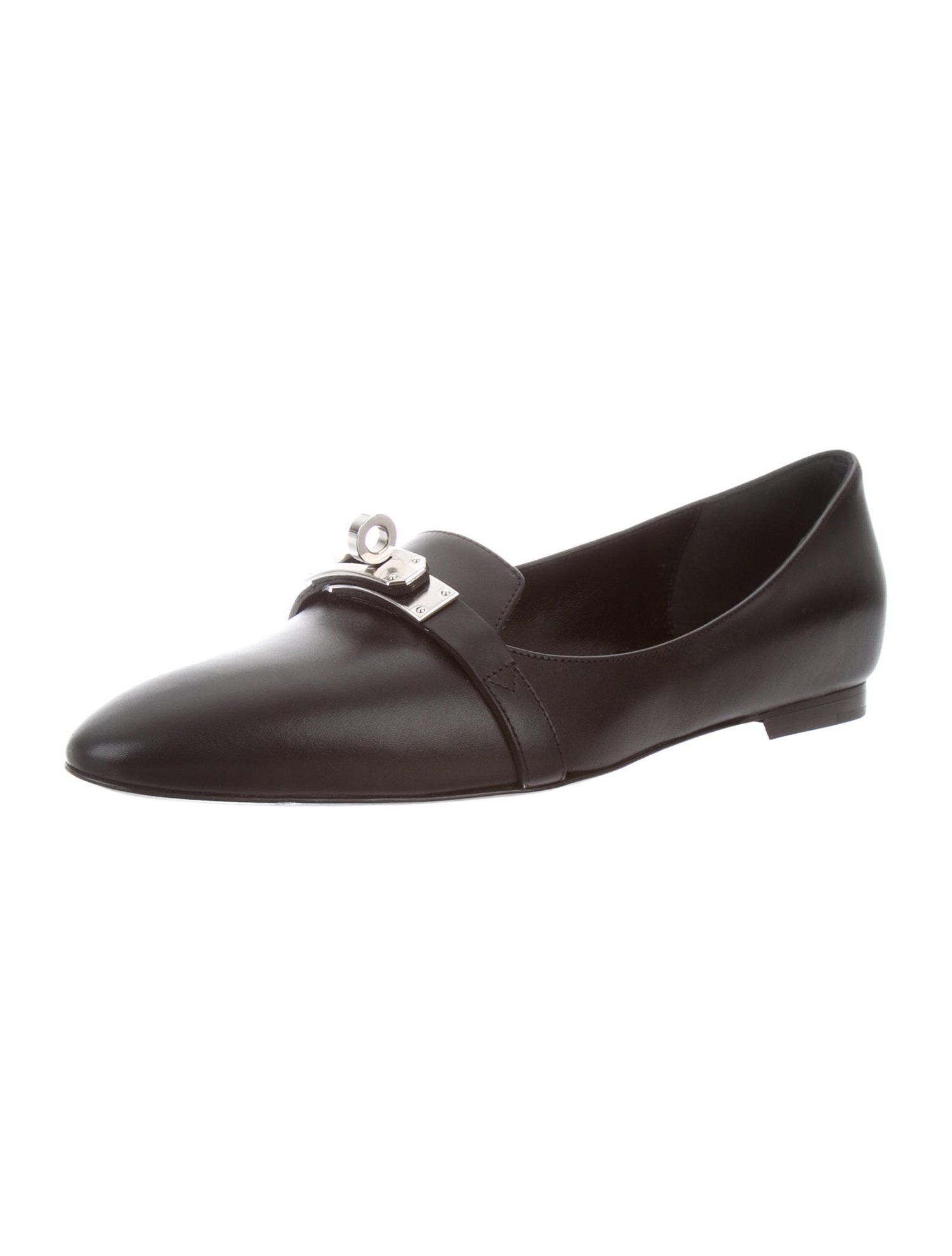 HERMES NEW Black Lather Palladium Kelly Turn Lock Flats Loafers Shoes For  Sale at 1stdibs