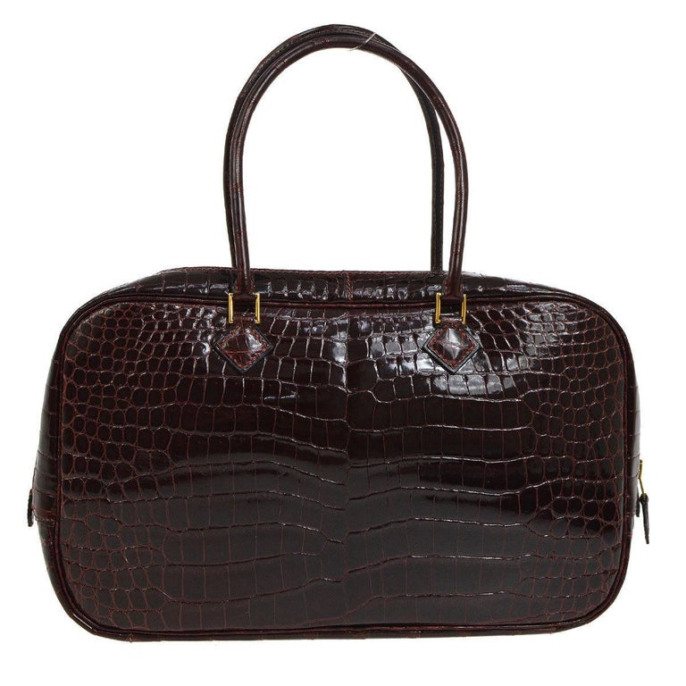 Hermes Rare Crocodile Leather Evening Small Tote Top Handle Satchel Bag For  Sale 58974e51b302f