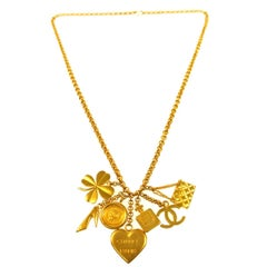Chanel Gold Favorite Things Charms Pendant Chain Evening Necklace