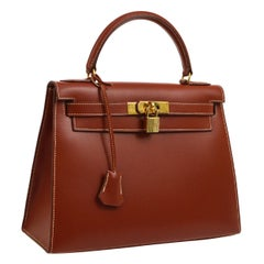 HERMES Kelly 28 Cognac Leather Gold Top Handle Satchel Tote Shoulder Bag