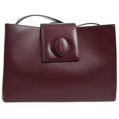 Cartier Burgundy Wine Leather Small Box Top Handle Satchel Tote Bag in Box