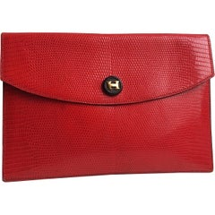 Hermes Red Leather Lizard Exotic Gold Envelope Evening Clutch Bag