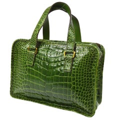 Prada Kelly Green Leather Crocodile Embossed Shiny Top Handle Satchel Kelly Bag