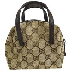 Gucci Monogram Canvas Leather Evening Party Mini Tote Top Handle Satchel Bag