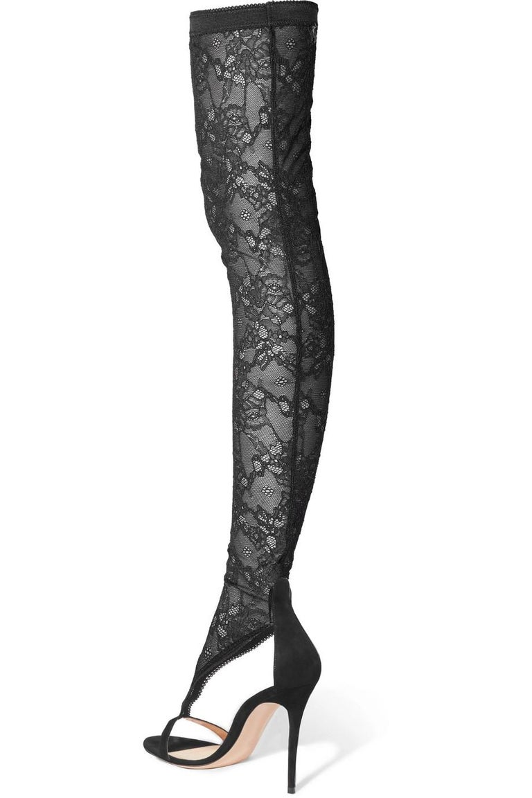 15b9d36a3866 Gianvito Rossi NEW Black Lace Suede Evening Thigh High Sandals Heels in Box  For Sale 2