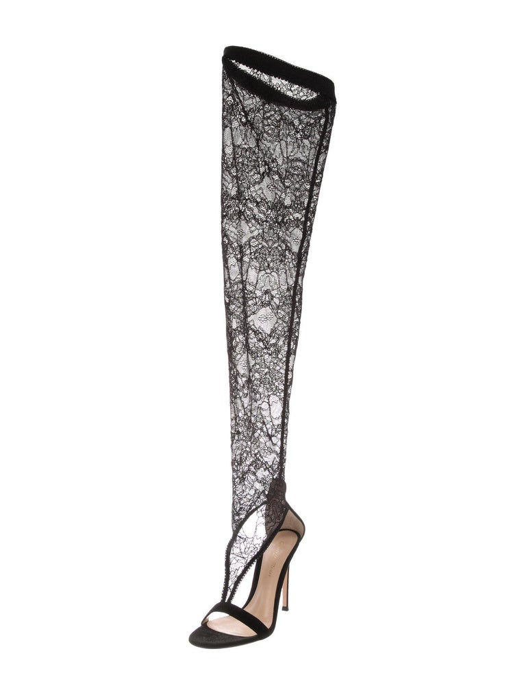 3ea243541915 Gianvito Rossi NEW Black Lace Suede Evening Thigh High Sandals Heels in Box  For Sale 1