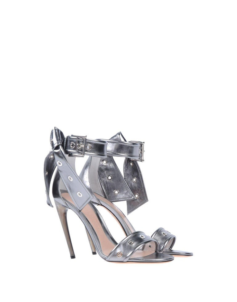 Alexander McQueen NEW Silver Leather Ankle Tie Evening Sandals Heels in Box  Size IT 36 Leather Silver tone hardware Ankle buckle and tie closures Made in Italy Heel height 4