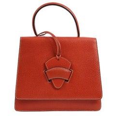 Loewe Red Leather Slip Buckle Kelly Style Top Handle Satchel Shoulder Bag