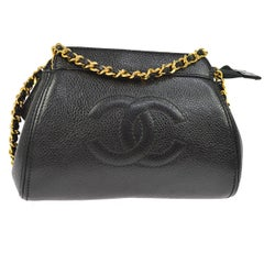 Chanel Black Caviar Leather Gold Mini 2 in 1 Clutch Party Shoulder Bag