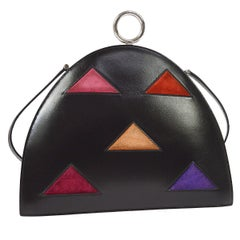 Hermes Black Leather Multi Color Triangle Suede 2 in 1 Mini Clutch Shoulder Bag