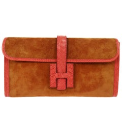 Hermes Rare Cognac Brown Suede Lizard Trim 'H' Logo Evening Clutch Bag In Box