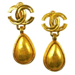 Chanel Gold CC Charm Tear Drop Evening  Earrings