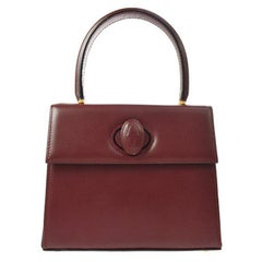 Cartier Wine Burgundy Leather Kelly Style Small Mini Top Handle Satchel Bag