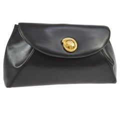 Cartier Black Leather Gold Emblem Envelope Evening Flap Clutch Bag