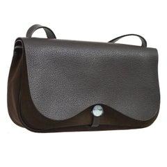 Hermes Black Leather Brown Canvas Carryall Crossbody Saddle Flap Shoulder Bag