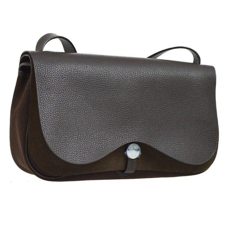 92543fdc03d Hermes Black Leather Brown Canvas Carryall Crossbody Saddle Flap Shoulder  Bag