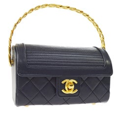 Chanel Rare Midnight Navy Blue Leather Gold Top Handle Satchel Mini Evening Bag