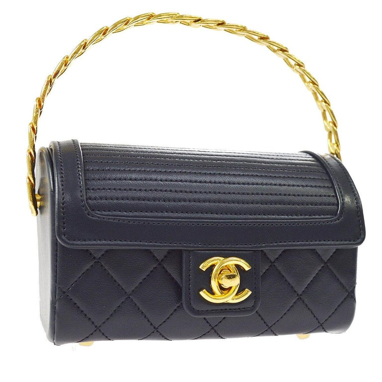 Chanel Rare Midnight Navy Blue Leather Gold Top Handle Satchel Mini Evening Bag For Sale