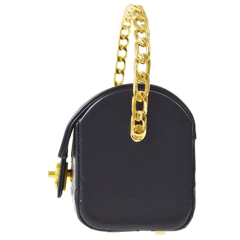 Black Chanel Rare Midnight Navy Blue Leather Gold Top Handle Satchel Mini Evening Bag For Sale