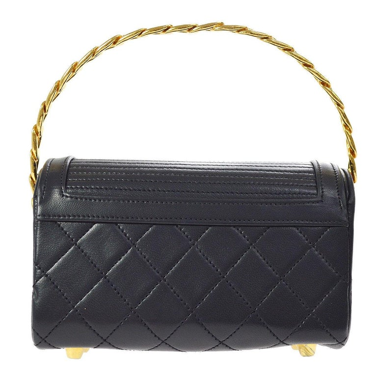 Chanel Rare Midnight Navy Blue Leather Gold Top Handle Satchel Mini Evening Bag In Excellent Condition For Sale In Chicago, IL