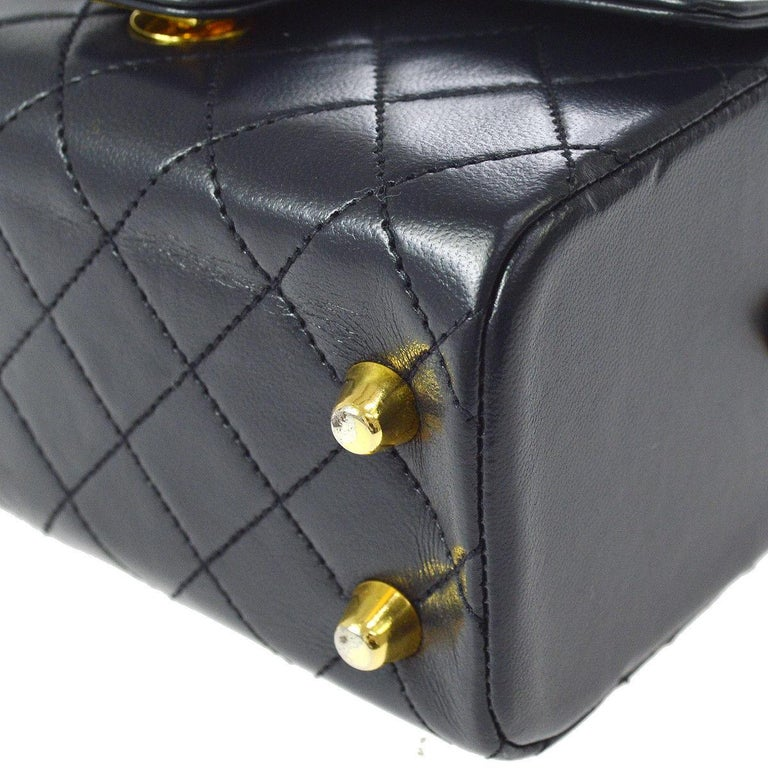 Women's or Men's Chanel Rare Midnight Navy Blue Leather Gold Top Handle Satchel Mini Evening Bag For Sale