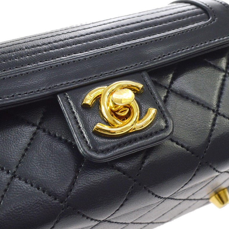 Chanel Rare Midnight Navy Blue Leather Gold Top Handle Satchel Mini Evening Bag  Leather Gold tone hardware Leather lining Date code present Made in France Handle drop 3