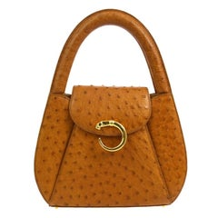 Cartier Cognac Ostrich Leather Small Mini Top Handle Satchel Evening Flap Bag