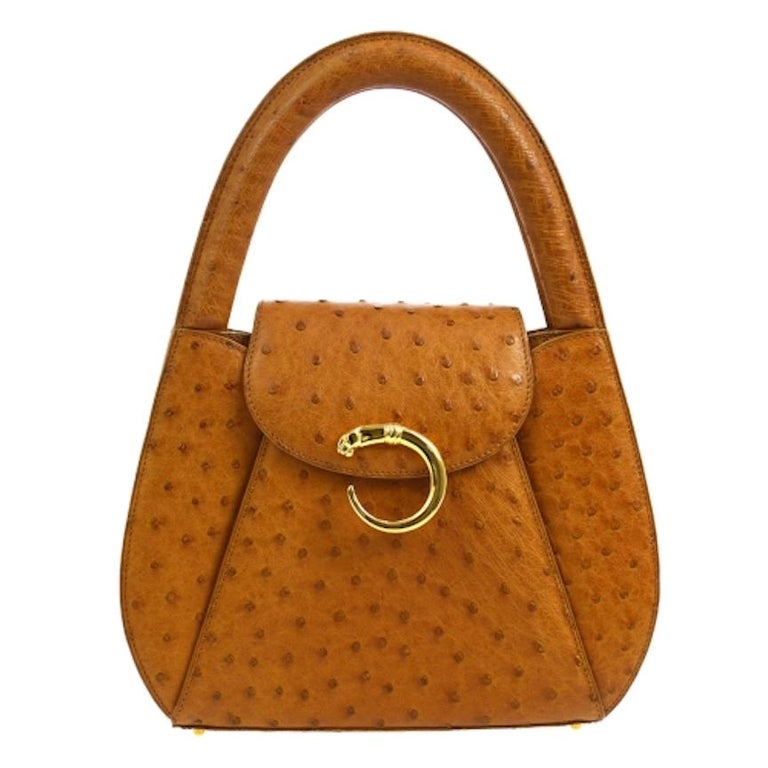 Cartier Cognac Ostrich Leather Small Mini Top Handle Satchel Evening Flap Bag For Sale