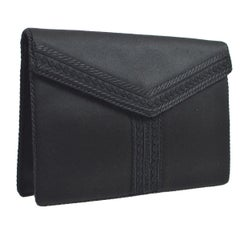 Yves Saint Laurent YSL Satin Braided 'Y' Envelope Evening Flap Clutch Bag