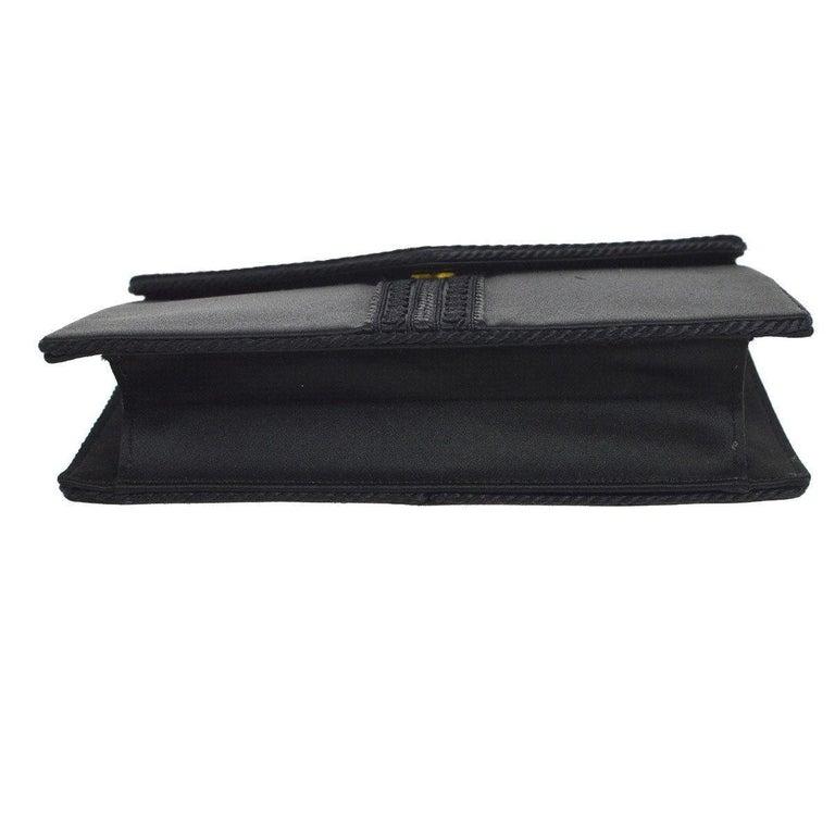 Black Yves Saint Laurent YSL Satin Braided  Y  Envelope Evening Flap Clutch  Bag For 1bc1ae07b0