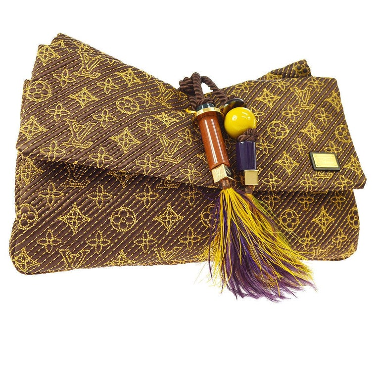 e08127fa747d Louis Vuitton Monogram Satin Leather Brown Yellow Multi Fold Flap Clutch Bag  For Sale