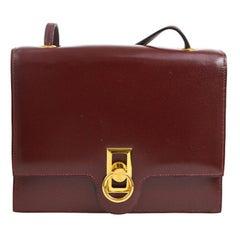 Hermes Burgundy Wine Leather Gold Hermes Toggle Evening Shoulder Flap Bag