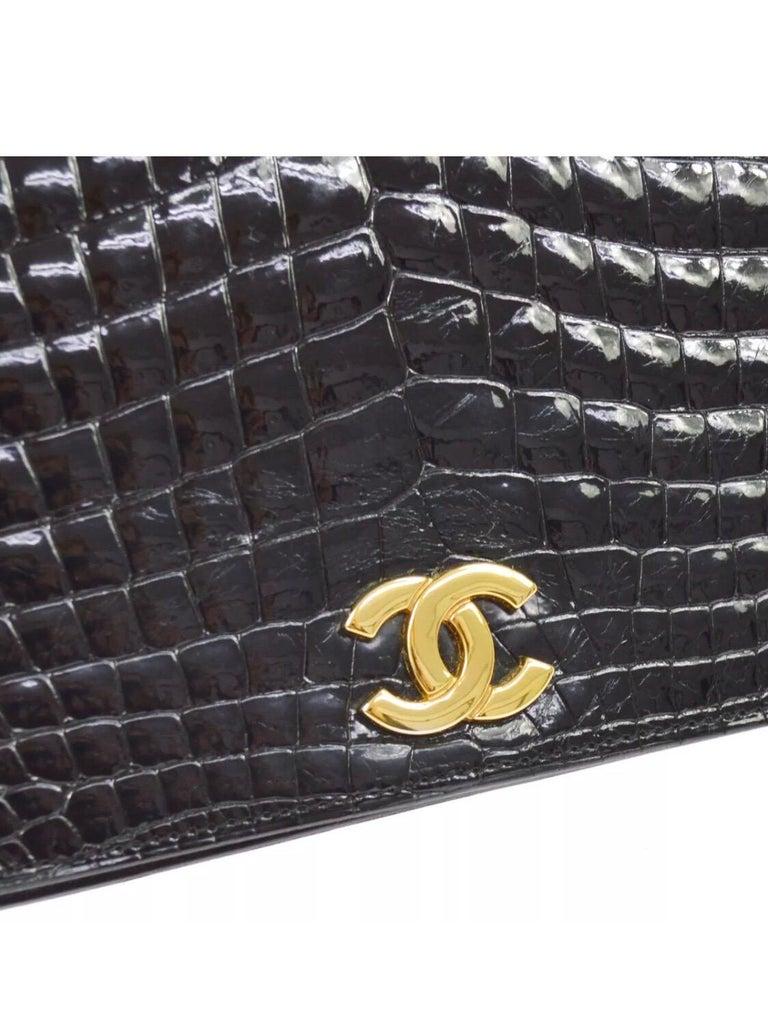 Chanel Vintage Crocodile Exotic WOC 2 in 1 Clutch Evening Shoulder Flap Bag   Crocodile Gold tone hardware Leather lining Snap closure Made in France Shoulder strap drop 11