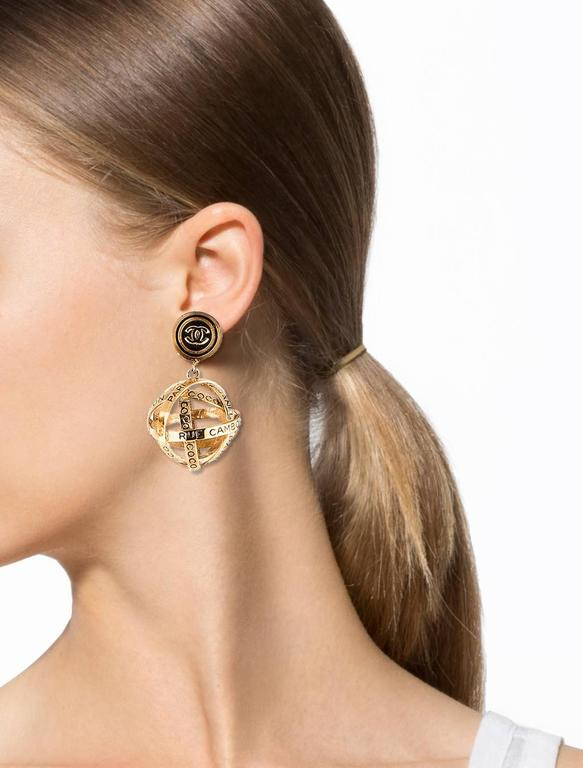 Chanel Gold 31 Rue Cambon Large Dangle Drop Evening Globe Sphere Earrings Available At Newfound Luxury