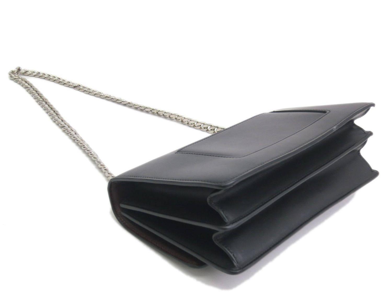 Celine Black Leather Silver Chain Hardware Crossbody Shoulder Bag ...