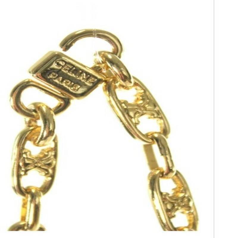 Celine Rare Vintage Like New Cognac Ostrich Leather Gold
