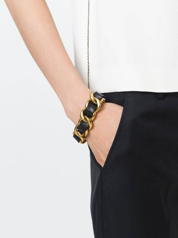Chanel Gold Leather Chain Bracelet 2