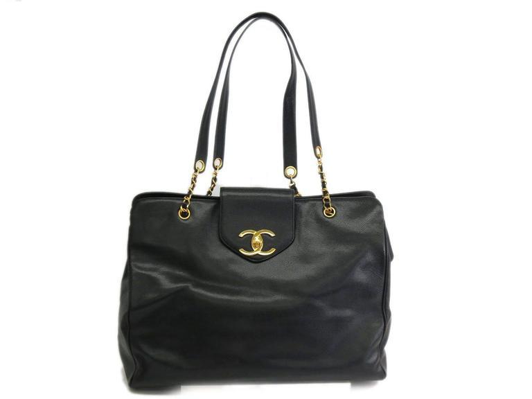 Chanel Black Vintage Caviar Supermodel Overnight Weekender Tote Shoulder Bag 2