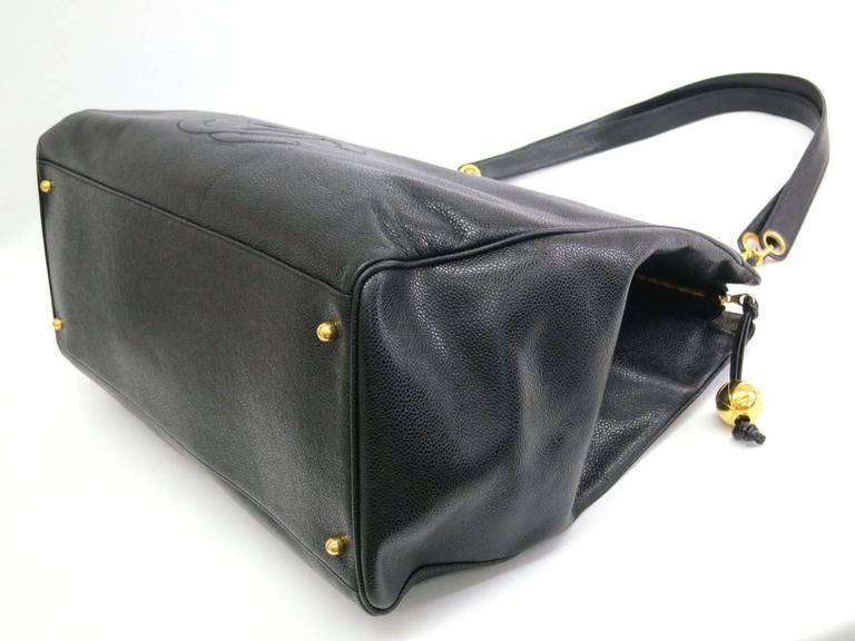 Chanel Black Vintage Caviar Supermodel Overnight Weekender Tote Shoulder Bag For Sale 1