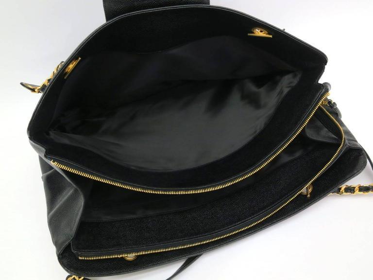 Chanel Black Vintage Caviar Supermodel Overnight Weekender Tote Shoulder Bag For Sale 3