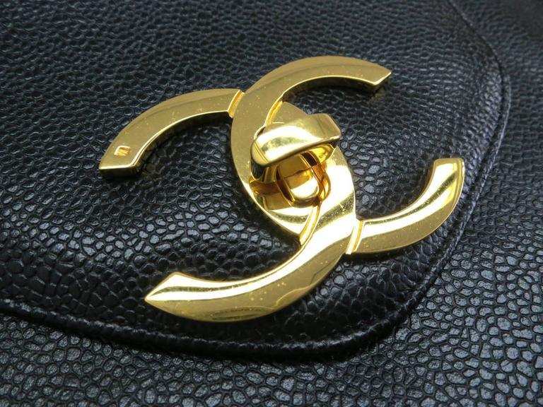 Chanel Black Vintage Caviar Supermodel Overnight Weekender Tote Shoulder Bag 3