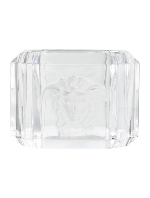 Versace Crystal Medusa Head Napkin Rings Set Of Eight At