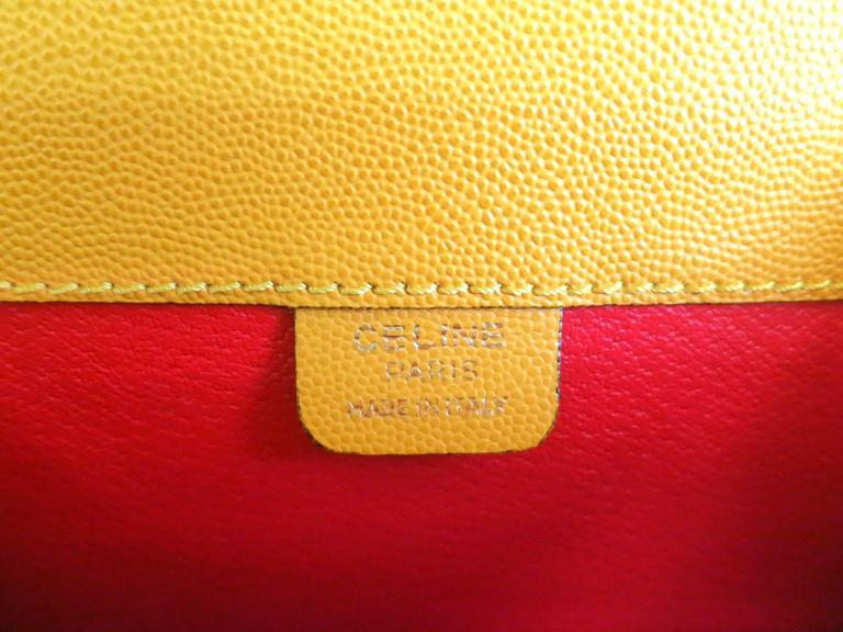 Women's Celine Mustard Yellow Leather Box Kelly Satchel Shoulder Bag For Sale