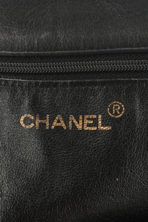 Chanel Black Lambskin Leather Gold Chain Shoulder Bag Shopper Tote 6